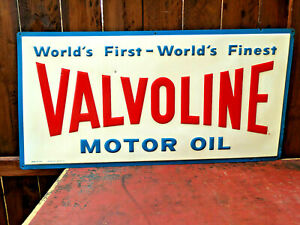 "VTG**RARE** 1960 VALVOLINE EMBOSSED PAINTED METAL MOTOR OIL 36"" GAS OIL SIGN"
