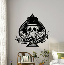 Game Over Poker Skull Wall Decal Spade Cards Dice Vinyl Sticker Decor Mural 57i