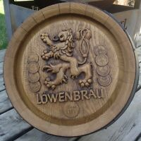 "Vintage Lowenbrau Round Beer Barrel Bar Sign Faux Wood 18 1/2"" diameter"