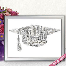 MOTARBOARD WORD ART GRADUATION SCHOOL GIFT PERSONALISED PRINT GIFT PRESENT New