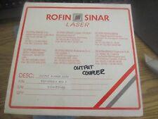 Rofin-Sinar P/N: 825-3003-1 Output Coupler Assembly.  Rev. F.  Good Crib Spares<