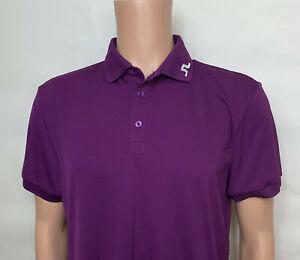 J.Lindeberg Men's Large Short Sleeve Golf Polo Shirt Plum Purple Regular Fit
