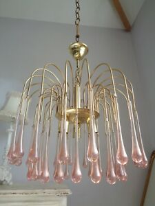 ~~ gorgeous large vintage waterfall chandelier~ pale pink Murano glass drops ~