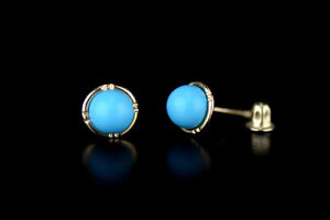 14k Yellow and White Gold Round Turquoise Stud Earrings/ Screw Back