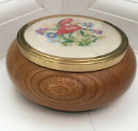 Vintage Wooden Trinket Dish With Embroidered Lid 12x5.5 Cm