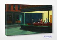 ☕️Edward Hopper Nighthawks Nottambuli Stampa Fine Art su Tela Vernice Pennellate
