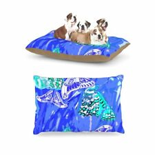 "Vikki Salmela ""Butterflies Party Blues"" Fleece Large Pet Dog Bed, 30 by 40-Inch"
