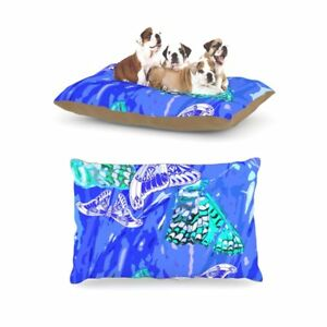 "Vikki Salmela ""Butterflies Party Blues"" Fleece Large Pet Dog Bed, 30 by 40-Inch"