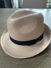 Maison Michel Rose Pink Straw Hat Black Bow Large