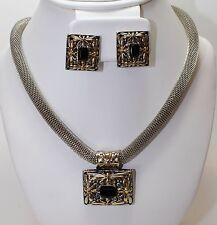 Designer Inspired Silver Mesh Necklace and Two Tone Black Onyx Pendant & Earring