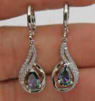 925 Silver MYSTIC Rainbow Topaz Hollow Waterdrop Drop Dangle Earrings Wholesale