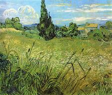 Grünes Weizenfeld mit Zypresse Landschaftsbild Bütten Vincent van Gogh A3 033