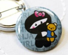 Ninja Girl With Teddy Handmade Badge Martial Arts