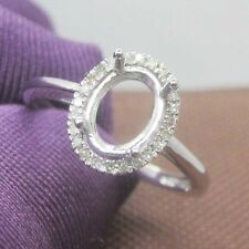 6x8mm Oval Cut Solid 14kt White Gold Semi Mount Natural Diamond Engagement Ring