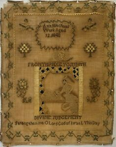 EARLY/MID 19TH CENTURY BIBLICAL SCENE SAMPLER BY ANN HITCHON AGED 12 - 1840