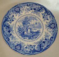 "1822-1841 Ralph Hall Blue Staffordshire Transferware Plate Italian Buildings 10"""