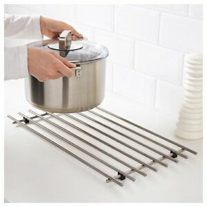 Large Stainless Steel Kitchen Trivet Worktop Saver Pot Pan Stand Rack 50x28cm