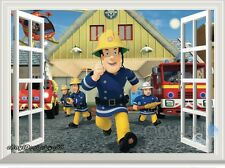 Fireman Sam Fire Engine 3D Window Wall Decals Removable Stickers Kids Art Decor