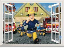Fireman Sam Fire Engine 3D Window Wall Decals Removable Stickers Kids Art Decor