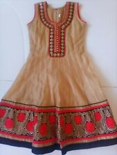 Bosnian Ethnic Dress Girls Size Dark Gold w Black Red Embellishment Approx 6 6X