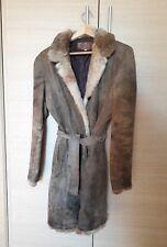 giacca donna in pelle vintage con collo in pelo. taglia 46