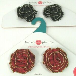 Lindsay Phillips Shoe Snaps Charms Interchangeable Lot of 2 Pair Black Red Wine