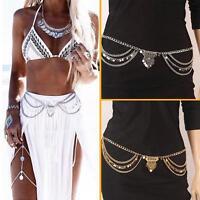 Boho Silver Gold Multilayer Sequins Tassel Belt Waist Belly Body Chain Good CA#