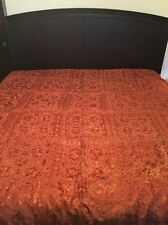 """Indian Hand-Embroidered Orange/Red Mirror Tapestry Bed Cover 76"""" x 96"""""""