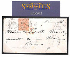 MS92 1865 GB *LUCE'S NAVAL HOTEL* Plymouth Devon Embossed Cover 4d Plate 7 Paris