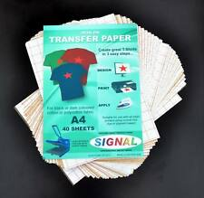 40 x A4 Iron-On T-Shirt Transfer Paper For Dark Fabrics