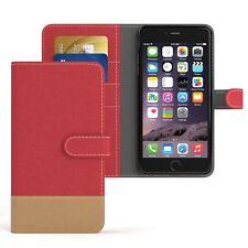Tasche f. Apple iPhone 6 / 6S Plus Jeans Cover Handy Schutz Hülle Case Rot