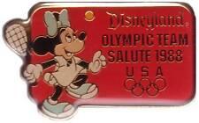 Minnie Tennis Usa Olympic Team Salute 1988 Disneyland Vtg Brooch Le Pin Nip Ss