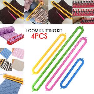 4pcs Size Weaving Loom Knitting Knitter Kit Maker Pompom Sock Hat Scarf Scarves