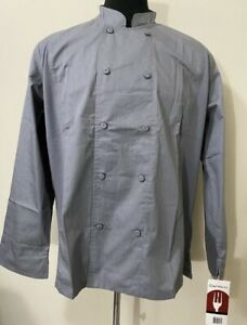 2 Chef Works size XL Gray Chef Coat Mens Long Sleeve Cool Vent Double Breasted