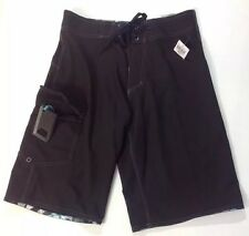 NEW BURNSIDE Board Shorts SwimSuit Men 28 Solid Black Tropical Trim Trunks Pants