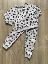 NEXT Girls Leopard Print Tracksuit Joggers Sweatshirt Set Age 4-5
