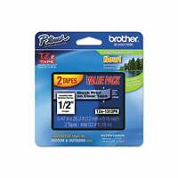 "2-PACK - Genuine Brother TZe-1312PK - 12mm 1/2"" Black on Clear  P-Touch TZ tape"