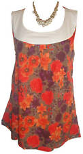 Size 22/24 ladies womans summer top poppy orange print with white trim.