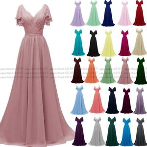 Long Chiffon Wedding Formal Evening Party Dresses Bridesmaid Ball Gown Size 6-30