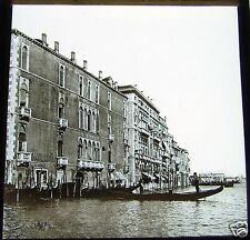 ROSCH Glass Magic lantern slide GRAND CANAL & HOUSES C1900 VENICE ITALY