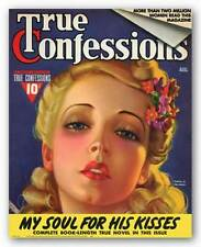 MAGAZINE COVER ART PRINT My Soul for His Kisses August 1929 True Confessions