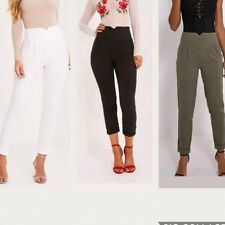 Ladies Petite Black, khaki and White High Waisted Tapered Trousers Sizes 4-16