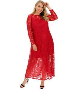 Joanna Hope Red Lace Maxi Dress Size 16 BNWT