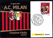 "2011 - Cartolina Filatelica "" A:C: MILAN Campione d'ITALIA 2010/2011"
