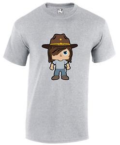 Carl Grimes Walking Dead Cartoon Zombie Apocalypse Horror Movie T-shirt