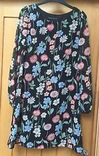 Ladies Black and Multi Floral Long Sleeved Tunic Top/DRESS SIZE 8