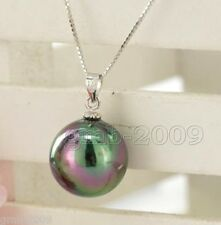 Fashion New 14MM Natural Round rainbow black South Sea Shell Pearl Pendant AAA