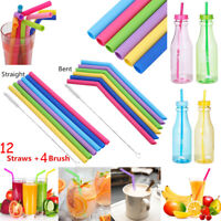 12PCS Straw Reusable Silicone Drinking Straw with Cleaning Brushes Set Wholesale