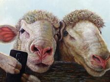 SHEEP TAKING SELFIES FUNNY JOKE POSTER 32x24 INCH