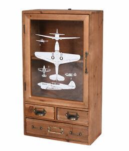 Hanging Wardrobe Retro Küchenvitrine Cabinet Wood Display Case Wall Antique